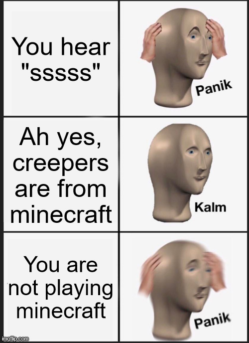 "Wait... |  You hear ""sssss""; Ah yes, creepers are from minecraft; You are not playing minecraft 