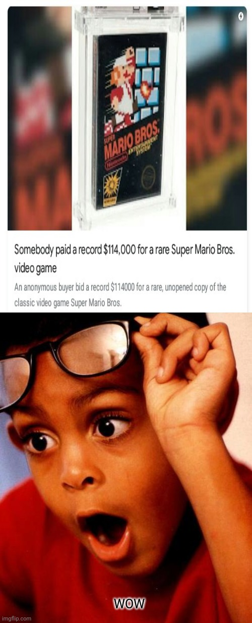 WOW: An anonymous buyer paid a record $114,000 for a rare Super Mario Bros. video game. |  WOW | image tagged in wow,super mario bros,gaming,memes,super mario,video game | made w/ Imgflip meme maker