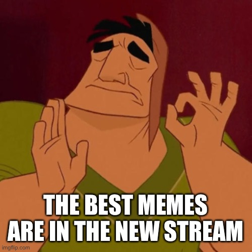 Pacha perfect | THE BEST MEMES ARE IN THE NEW STREAM | image tagged in pacha perfect | made w/ Imgflip meme maker