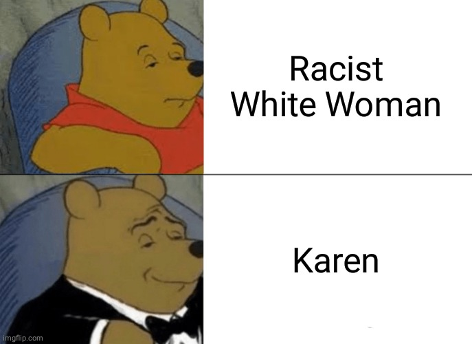 That's is a fancy way to say it |  Racist White Woman; Karen | image tagged in memes,tuxedo winnie the pooh,winnie the pooh,fun,karen | made w/ Imgflip meme maker