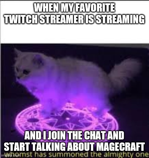 Whomst has Summoned the almighty one |  WHEN MY FAVORITE TWITCH STREAMER IS STREAMING; AND I JOIN THE CHAT AND START TALKING ABOUT MAGECRAFT | image tagged in whomst has summoned the almighty one | made w/ Imgflip meme maker