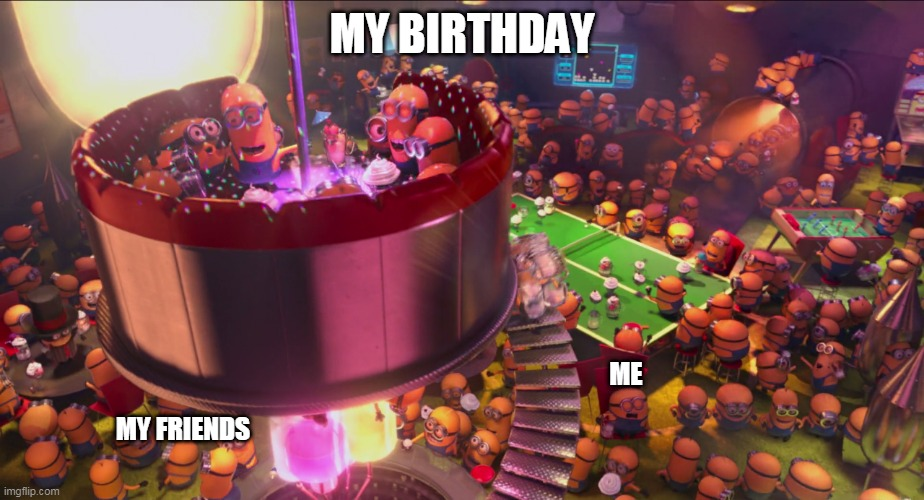 gaming |  MY BIRTHDAY; ME; MY FRIENDS | image tagged in online gaming | made w/ Imgflip meme maker