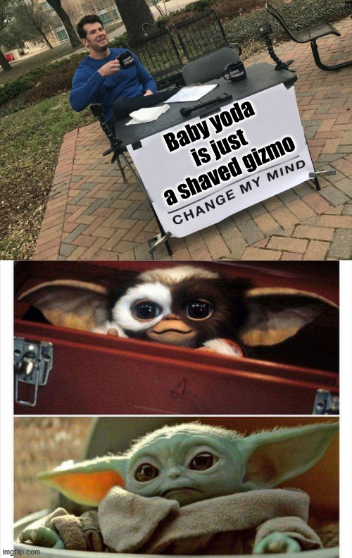 Baby Yoda is a rip off of Gizmo from Gremlins. |  Baby yoda is just a shaved gizmo | image tagged in change my mind crowder,baby yoda,gizmo,totally looks like | made w/ Imgflip meme maker