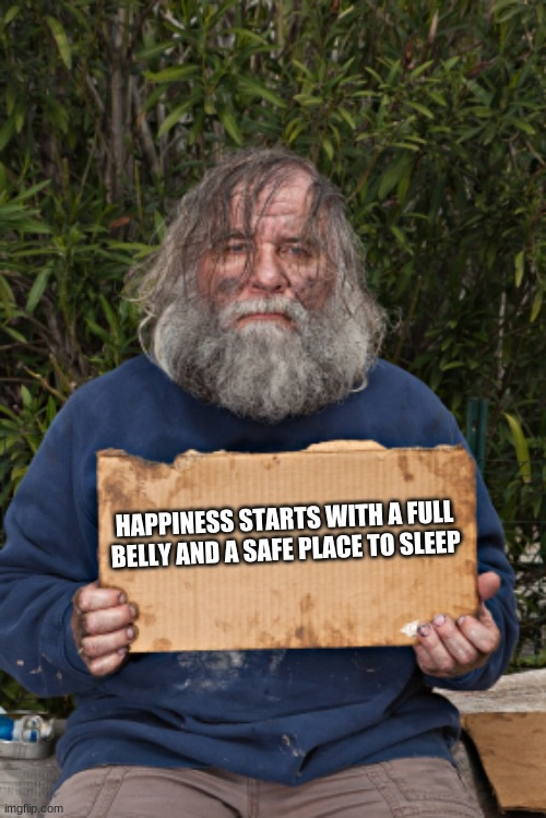 You have more than you think |  HAPPINESS STARTS WITH A FULL BELLY AND A SAFE PLACE TO SLEEP | image tagged in blak homeless sign,you have more than you think,don't worry be happy,warm bed,fully belly,help someone today | made w/ Imgflip meme maker