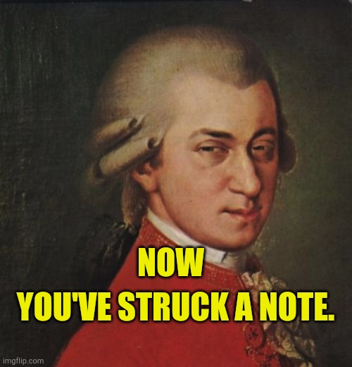 Sarcasm or I like the song |  YOU'VE STRUCK A NOTE. NOW | image tagged in mozart not sure,sarcasim,favorite,well said,musicnotes,music videos | made w/ Imgflip meme maker