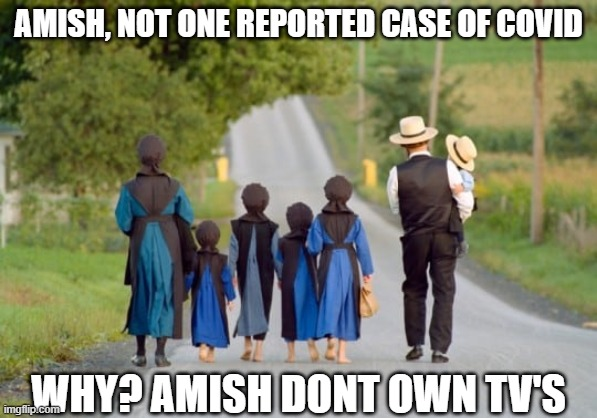 Amish Dont Own TV's |  AMISH, NOT ONE REPORTED CASE OF COVID; WHY? AMISH DONT OWN TV'S | image tagged in amish,covid,covid 19,covidiots | made w/ Imgflip meme maker