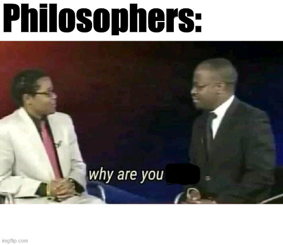 WHY |  Philosophers: | image tagged in why are you gay,philosopher | made w/ Imgflip meme maker