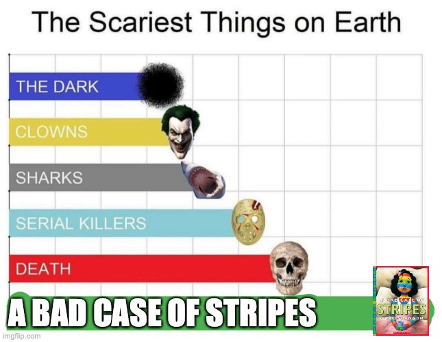 This book used to give me night terrors (I'm actually not joking) |  A BAD CASE OF STRIPES | image tagged in scariest things on earth,memes,fun | made w/ Imgflip meme maker