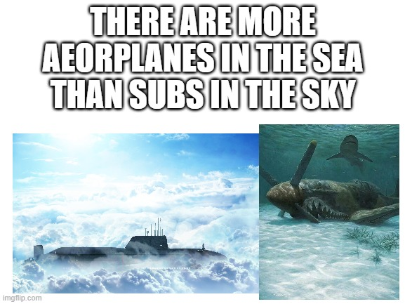 I suppose |  THERE ARE MORE AEORPLANES IN THE SEA THAN SUBS IN THE SKY | made w/ Imgflip meme maker
