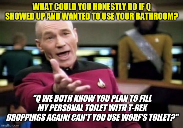 "When Q wants to be a jerk |  WHAT COULD YOU HONESTLY DO IF Q SHOWED UP AND WANTED TO USE YOUR BATHROOM? ""Q WE BOTH KNOW YOU PLAN TO FILL MY PERSONAL TOILET WITH T-REX DROPPINGS AGAIN! CAN'T YOU USE WORF'S TOILET?"" 