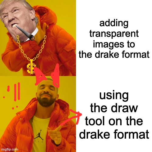 he |  adding transparent images to the drake format; using the draw tool on the drake format | image tagged in memes,drake hotline bling,draw tool,transparent images | made w/ Imgflip meme maker