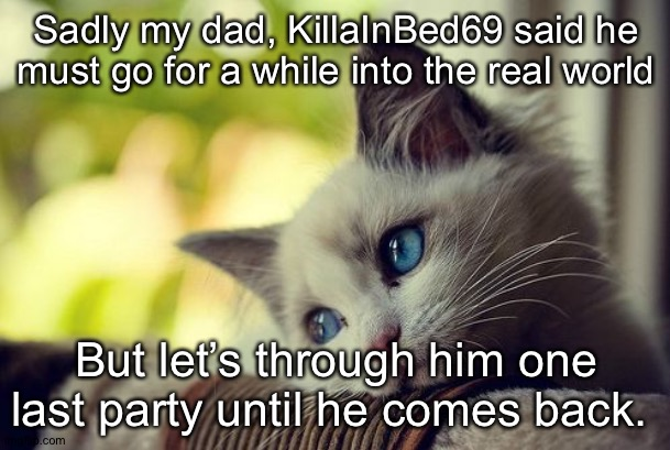 He will never be forgotten ever. This is an all-day party :3 |  Sadly my dad, KillaInBed69 said he must go for a while into the real world; But let's through him one last party until he comes back. | image tagged in memes,first world problems cat | made w/ Imgflip meme maker