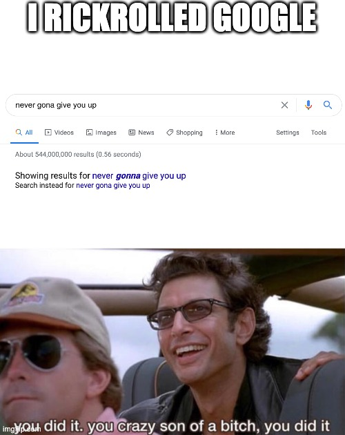 I RICKROLLED GOOGLE | image tagged in you crazy son of a bitch you did it,rickroll,google,haha,gifs,memes | made w/ Imgflip meme maker