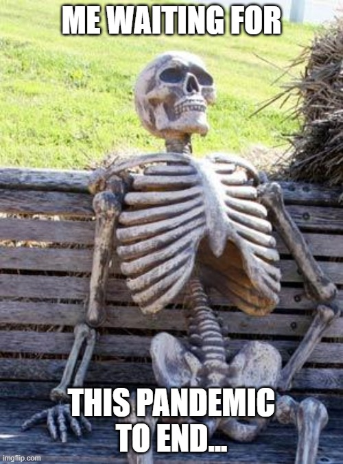 Waiting Skeleton Meme |  ME WAITING FOR; THIS PANDEMIC TO END... | image tagged in memes,waiting skeleton | made w/ Imgflip meme maker