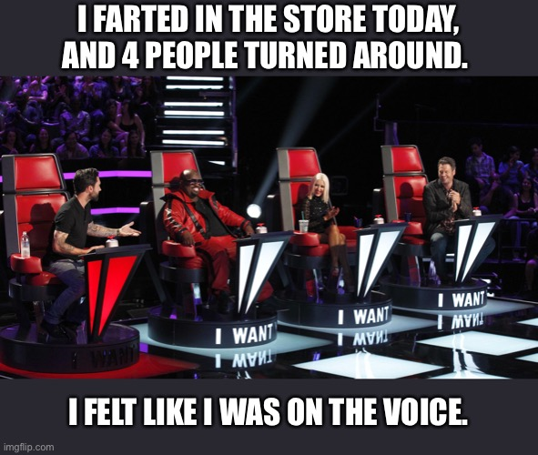 I got 4 chair turns |  I FARTED IN THE STORE TODAY, AND 4 PEOPLE TURNED AROUND. I FELT LIKE I WAS ON THE VOICE. | image tagged in voice,the voice,fart,famous,memes,funny | made w/ Imgflip meme maker