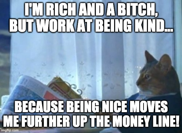 Rich Cat |  I'M RICH AND A BITCH, BUT WORK AT BEING KIND... BECAUSE BEING NICE MOVES ME FURTHER UP THE MONEY LINE! | image tagged in memes,i should buy a boat cat,kind,rich,cat | made w/ Imgflip meme maker
