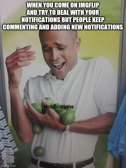 Why Can't I Hold All These Limes |  WHEN YOU COME ON IMGFLIP AND TRY TO DEAL WITH YOUR NOTIFICATIONS BUT PEOPLE KEEP COMMENTING AND ADDING NEW NOTIFICATIONS; Notifications | image tagged in memes,why can't i hold all these limes | made w/ Imgflip meme maker