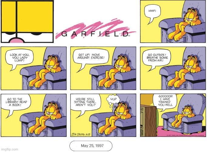 A television speaks to Garfield | made w/ Imgflip meme maker