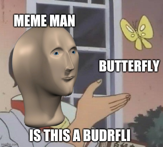 Meme man is not malay |  MEME MAN; BUTTERFLY; IS THIS A BUDRFLI | image tagged in memes,is this a pigeon | made w/ Imgflip meme maker