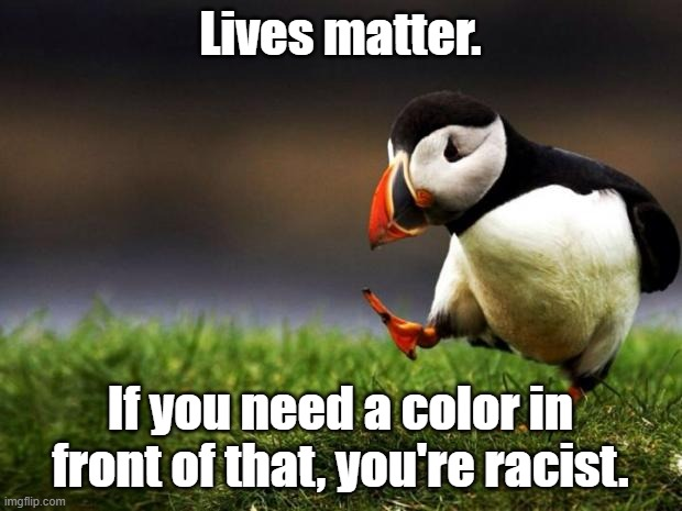 Unpopular Opinion Puffin |  Lives matter. If you need a color in front of that, you're racist. | image tagged in memes,unpopular opinion puffin | made w/ Imgflip meme maker