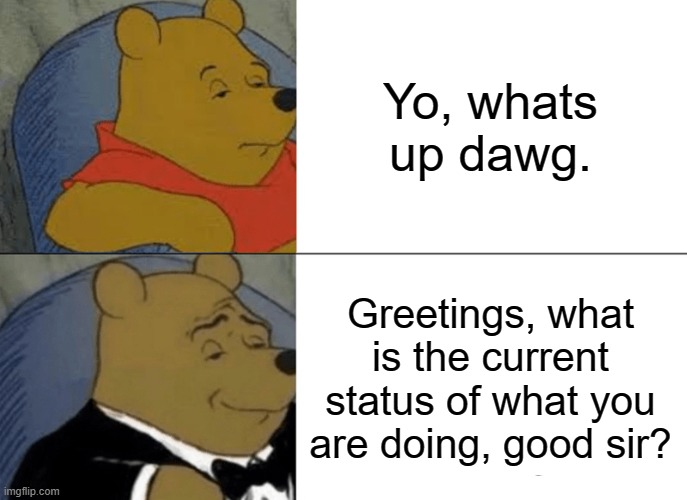 Tuxedo Winnie The Pooh Meme |  Yo, whats up dawg. Greetings, what is the current status of what you are doing, good sir? | image tagged in memes,tuxedo winnie the pooh | made w/ Imgflip meme maker