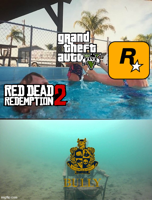 Rockstar Games in a nutshell.... | image tagged in mother ignoring kid drowning in a pool,gta v,dank memes,memes,funny,gta 5 | made w/ Imgflip meme maker