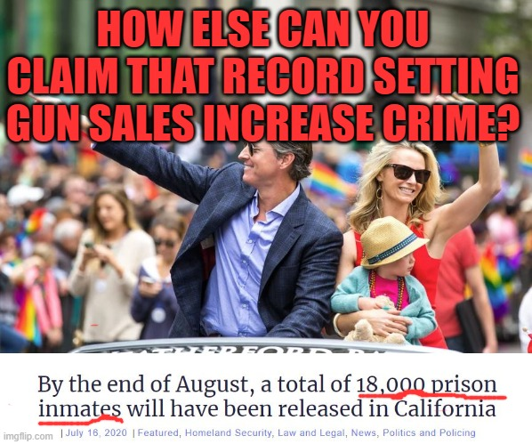Releasing felons to make room for people who sing at church |  HOW ELSE CAN YOU CLAIM THAT RECORD SETTING GUN SALES INCREASE CRIME? | image tagged in newsome,california,crime,prisoners | made w/ Imgflip meme maker