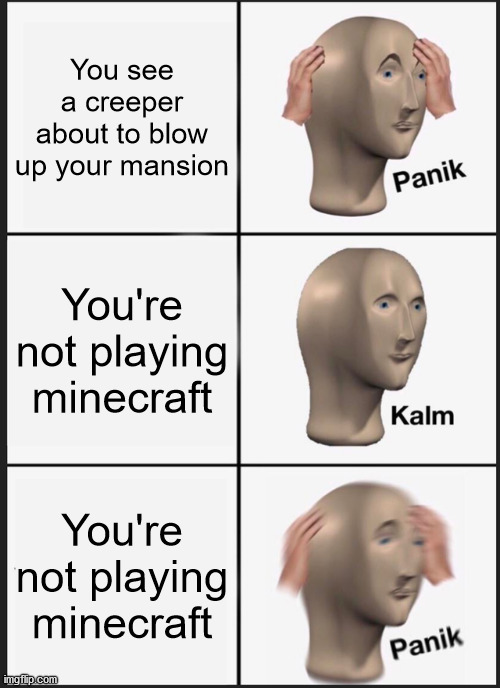 Wait a second |  You see a creeper about to blow up your mansion; You're not playing minecraft; You're not playing minecraft | image tagged in memes,panik kalm panik | made w/ Imgflip meme maker