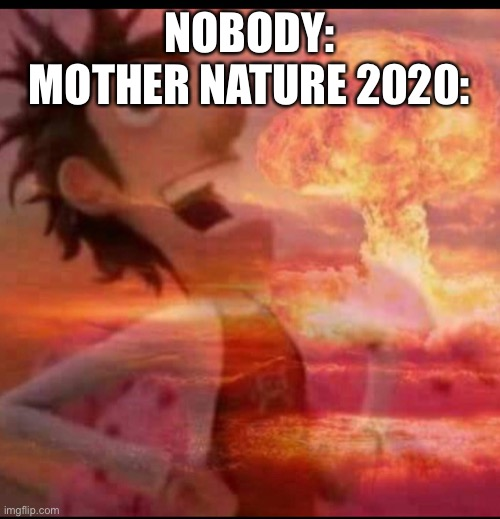 ... |  NOBODY: MOTHER NATURE 2020: | image tagged in mushroomcloudy | made w/ Imgflip meme maker
