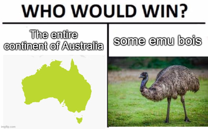 Who Would Win? |  The entire continent of Australia; some emu bois | image tagged in memes,who would win,australia,emu,emu wars,bruh | made w/ Imgflip meme maker