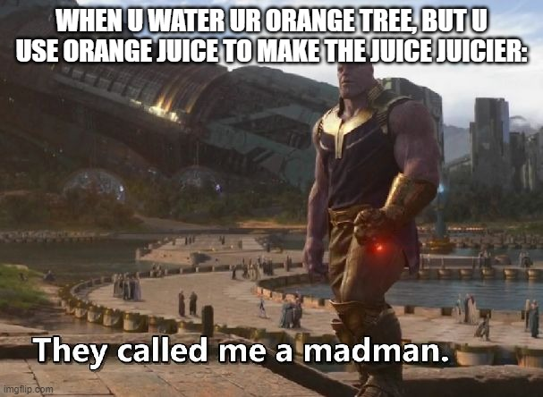 Thanos they called me a madman |  WHEN U WATER UR ORANGE TREE, BUT U USE ORANGE JUICE TO MAKE THE JUICE JUICIER: | image tagged in thanos they called me a madman | made w/ Imgflip meme maker