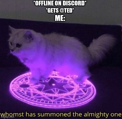 Whomst has summoned the almighty one |  *OFFLINE ON DISCORD*; *GETS @TED*; ME: | image tagged in whomst has summoned the almighty one | made w/ Imgflip meme maker