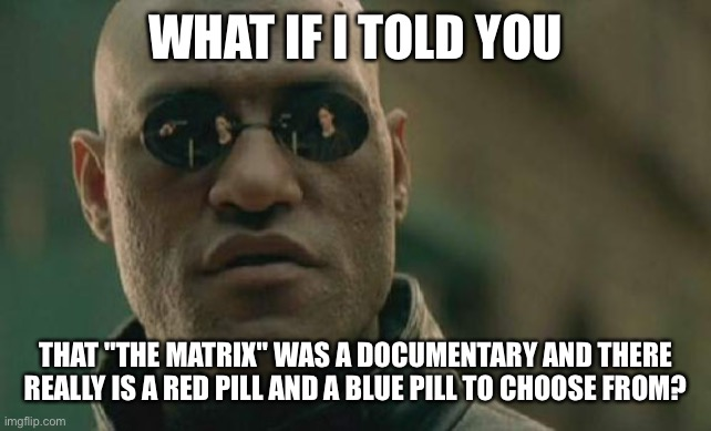 "Which do you choose? |  WHAT IF I TOLD YOU; THAT ""THE MATRIX"" WAS A DOCUMENTARY AND THERE REALLY IS A RED PILL AND A BLUE PILL TO CHOOSE FROM? 