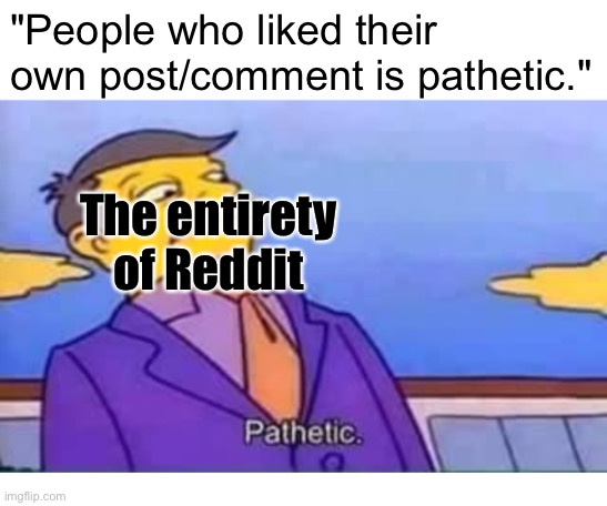 "Pathetic |  ""People who liked their own post/comment is pathetic.""; The entirety of Reddit 
