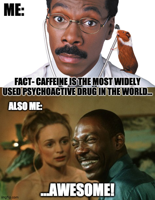 Dr. DoLatte |  ME:; FACT- CAFFEINE IS THE MOST WIDELY USED PSYCHOACTIVE DRUG IN THE WORLD... ALSO ME:; ...AWESOME! | image tagged in coffee,coffee addict,eddie murphy,bowfinger,heather graham,dr dolittle | made w/ Imgflip meme maker