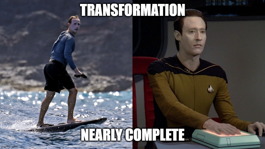 Data Zuckerberg |  TRANSFORMATION; NEARLY COMPLETE | image tagged in data,star trek data,mark zuckerberg,zuckerberg,sunscreen,star trek tng | made w/ Imgflip meme maker