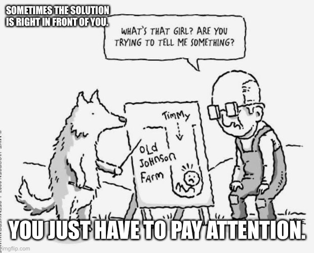 Sometimes the solution is right in front of you |  SOMETIMES THE SOLUTION IS RIGHT IN FRONT OF YOU. YOU JUST HAVE TO PAY ATTENTION. | image tagged in solutions,pay attention | made w/ Imgflip meme maker