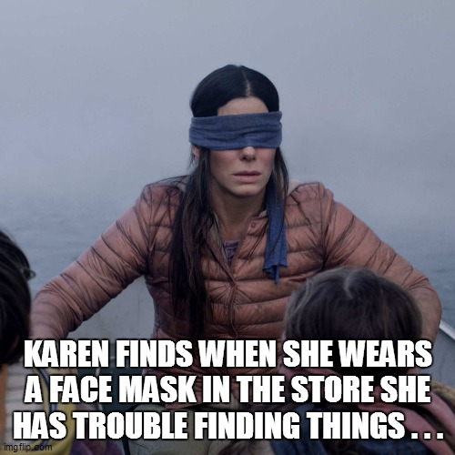 Bird Box |  KAREN FINDS WHEN SHE WEARS A FACE MASK IN THE STORE SHE HAS TROUBLE FINDING THINGS . . . | image tagged in fun,funny,funny memes,funny meme,lol,too funny | made w/ Imgflip meme maker