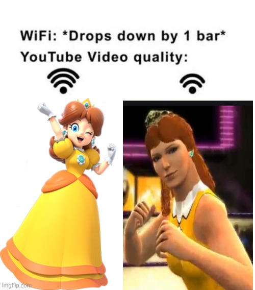 Princess Daisy Youtube video quality | image tagged in daisy,mario,super mario,cursed image,wifi drops,wifi | made w/ Imgflip meme maker