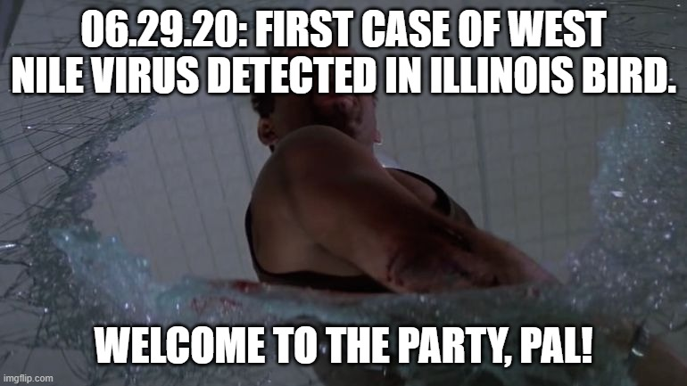 Oh yeah, just one more thing... |  06.29.20: FIRST CASE OF WEST NILE VIRUS DETECTED IN ILLINOIS BIRD. WELCOME TO THE PARTY, PAL! | image tagged in west nile virus,bruce willis | made w/ Imgflip meme maker