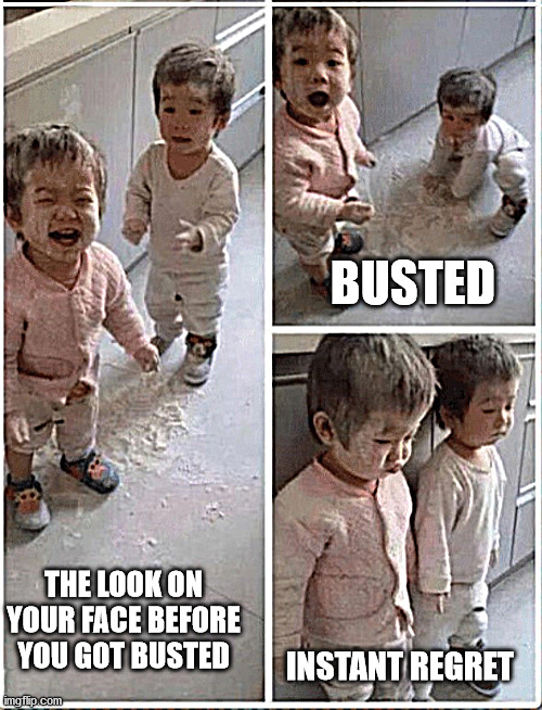 Totally Busted Doing the Wrong Thing |  BUSTED; THE LOOK ON YOUR FACE BEFORE YOU GOT BUSTED; INSTANT REGRET | image tagged in totally busted,you're doing it wrong,doing the right things,why am i doing this,so glad i grew up doing this,what am i doing wit | made w/ Imgflip meme maker