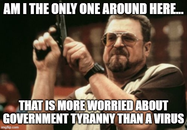 Am I The Only One Around Here Meme |  AM I THE ONLY ONE AROUND HERE... THAT IS MORE WORRIED ABOUT GOVERNMENT TYRANNY THAN A VIRUS | image tagged in memes,am i the only one around here | made w/ Imgflip meme maker