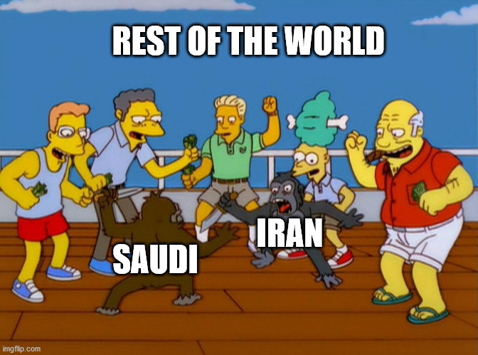 Simpsons Monkey Fight |  REST OF THE WORLD; SAUDI; IRAN | image tagged in simpsons monkey fight | made w/ Imgflip meme maker