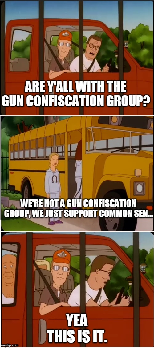 Are Y'all gun banners |  ARE Y'ALL WITH THE GUN CONFISCATION GROUP? WE'RE NOT A GUN CONFISCATION GROUP, WE JUST SUPPORT COMMON SEN... YEA THIS IS IT. | image tagged in are y'all with the cult,gun,ban | made w/ Imgflip meme maker