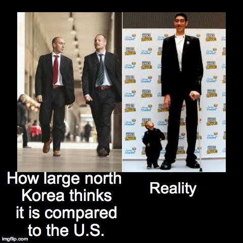 Korean logic | How large north Korea thinks it is compared to the U.S. | Reality | image tagged in funny,how i think i look,north korea | made w/ Imgflip demotivational maker