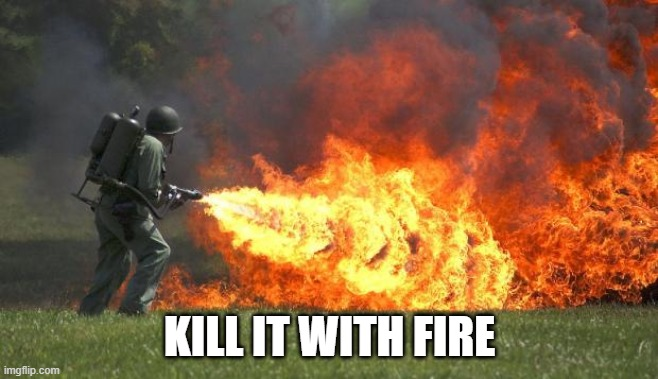 flamethrower | KILL IT WITH FIRE | image tagged in flamethrower | made w/ Imgflip meme maker