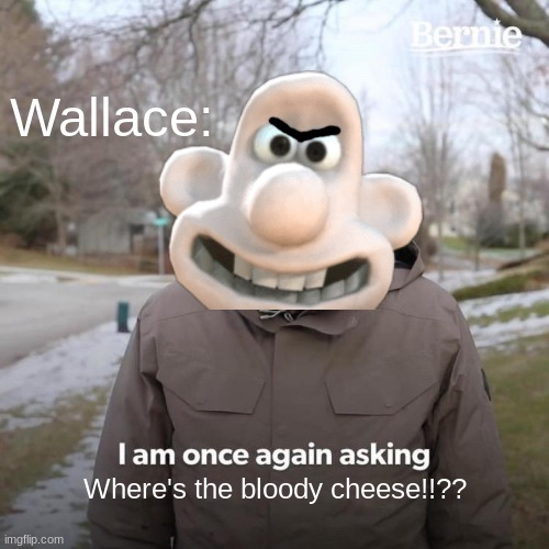 Wallace Has A Question: |  Wallace:; Where's the bloody cheese!!?? | image tagged in funny memes,memes,fun | made w/ Imgflip meme maker