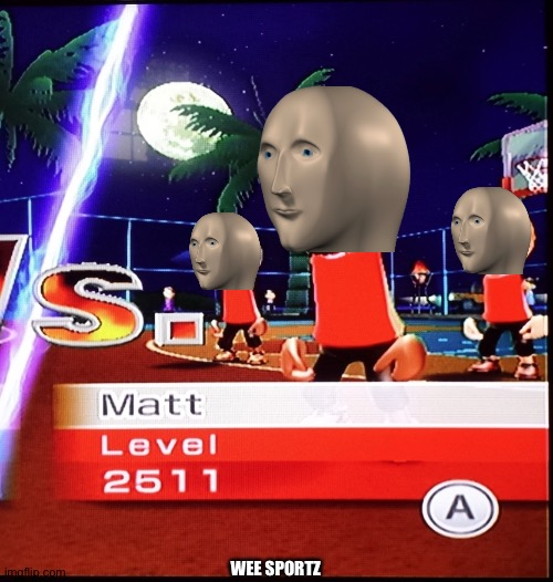 Wee sports |  WEE SPORTZ | image tagged in memes,funny,meme man,stronks,wii sports,sports | made w/ Imgflip meme maker