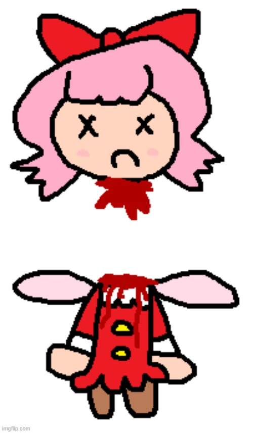 Cut Ribbon's Head Off Again Because I Like Blood | image tagged in kirby,ribbon,gore,blood,funny,edgy | made w/ Imgflip meme maker