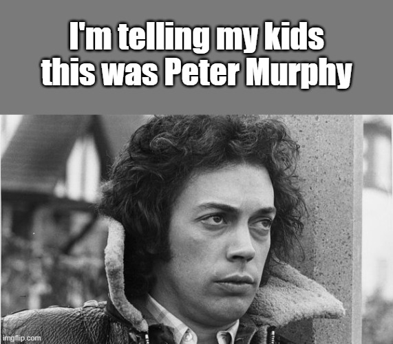 I'm telling my kids this was Peter Murphy |  I'm telling my kids this was Peter Murphy | image tagged in telling my kids,peter murphy,tim curry | made w/ Imgflip meme maker
